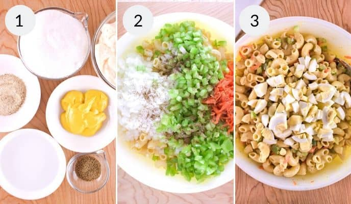 Step 1, 2 and 3 for making pasta salad.