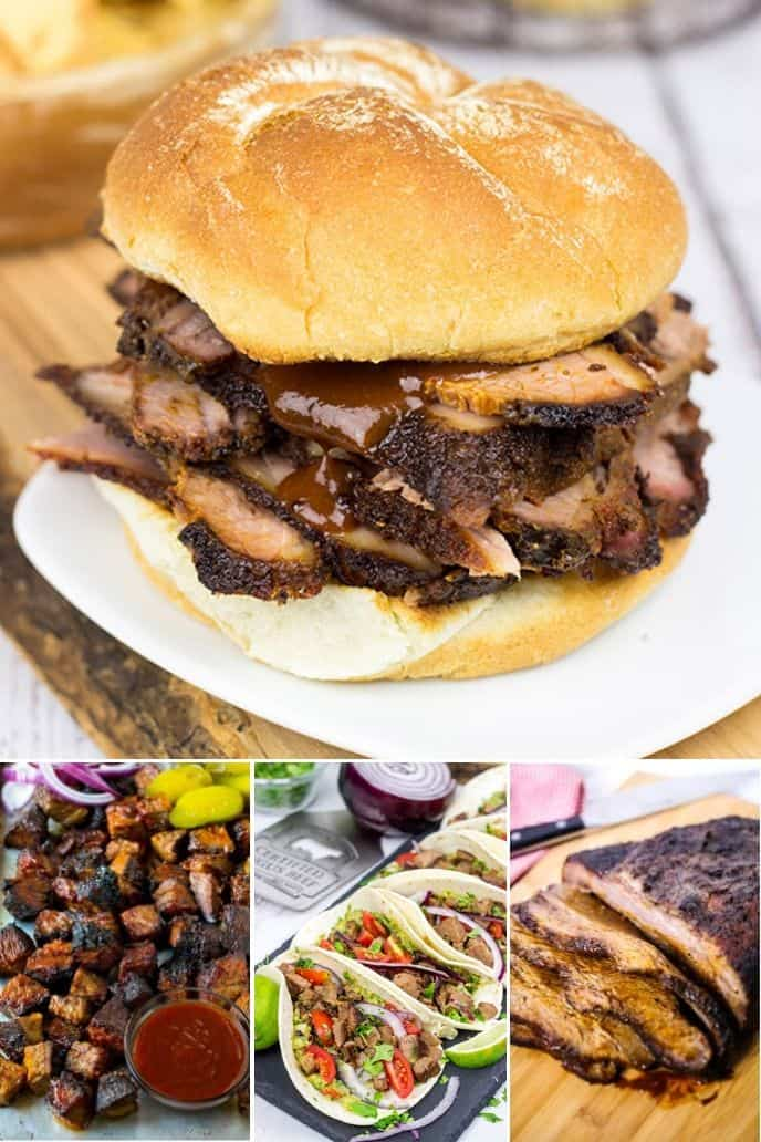 a variety of the best smoked brisket recipe