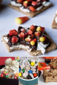 Collage of 4 images of various snacks that can be made using leftover Halloween candy