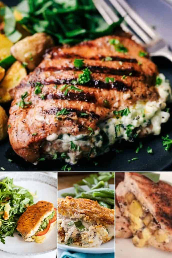a variety of the most excellent stuffed pork chop recipe