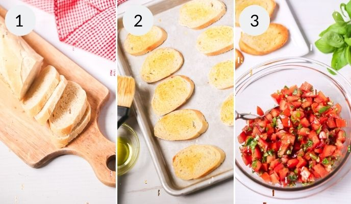 Step by step instructions for how to make bruschetta