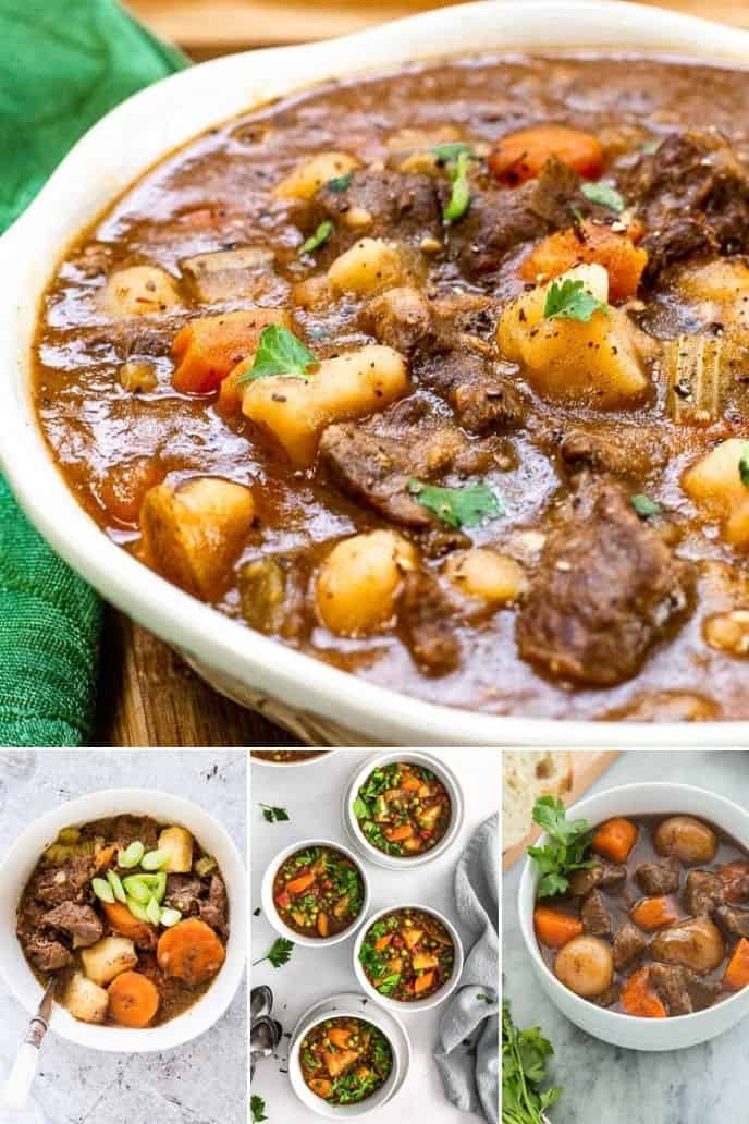 collage of 4 images of beef stews made in an instant pot