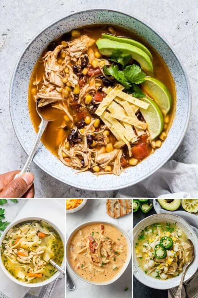 image collage of 4 different types of soups with chicken that can be made in an instant pot