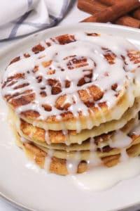 Cinnamon swirl pancakes on a white plate