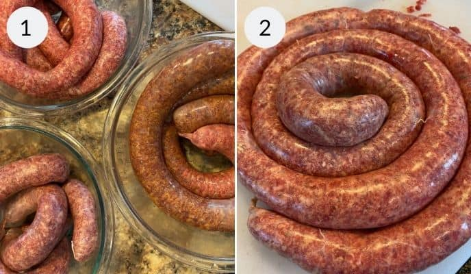 Finished beef sausage in a bowl