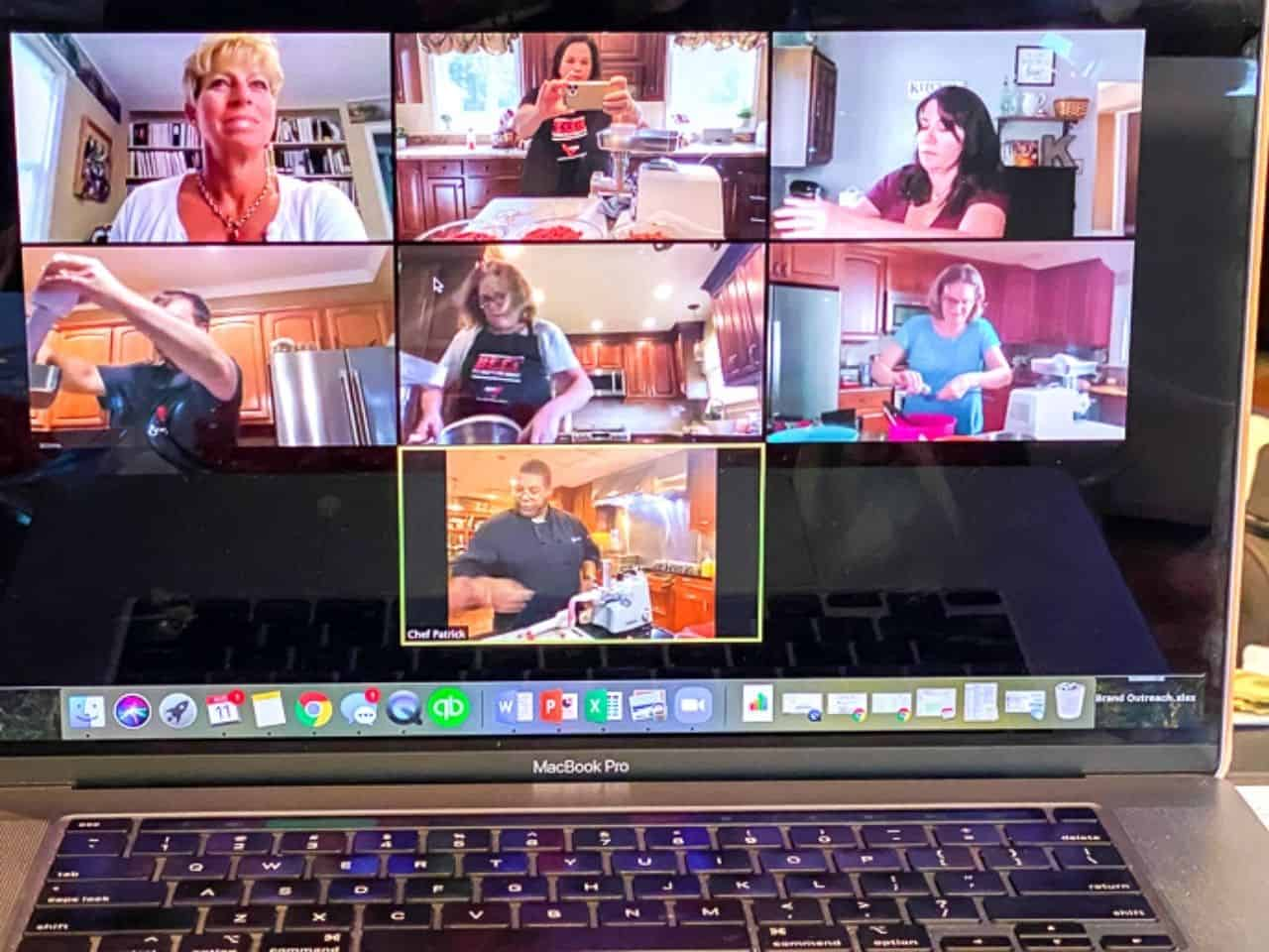 Video chat of learning how to make beef sausage