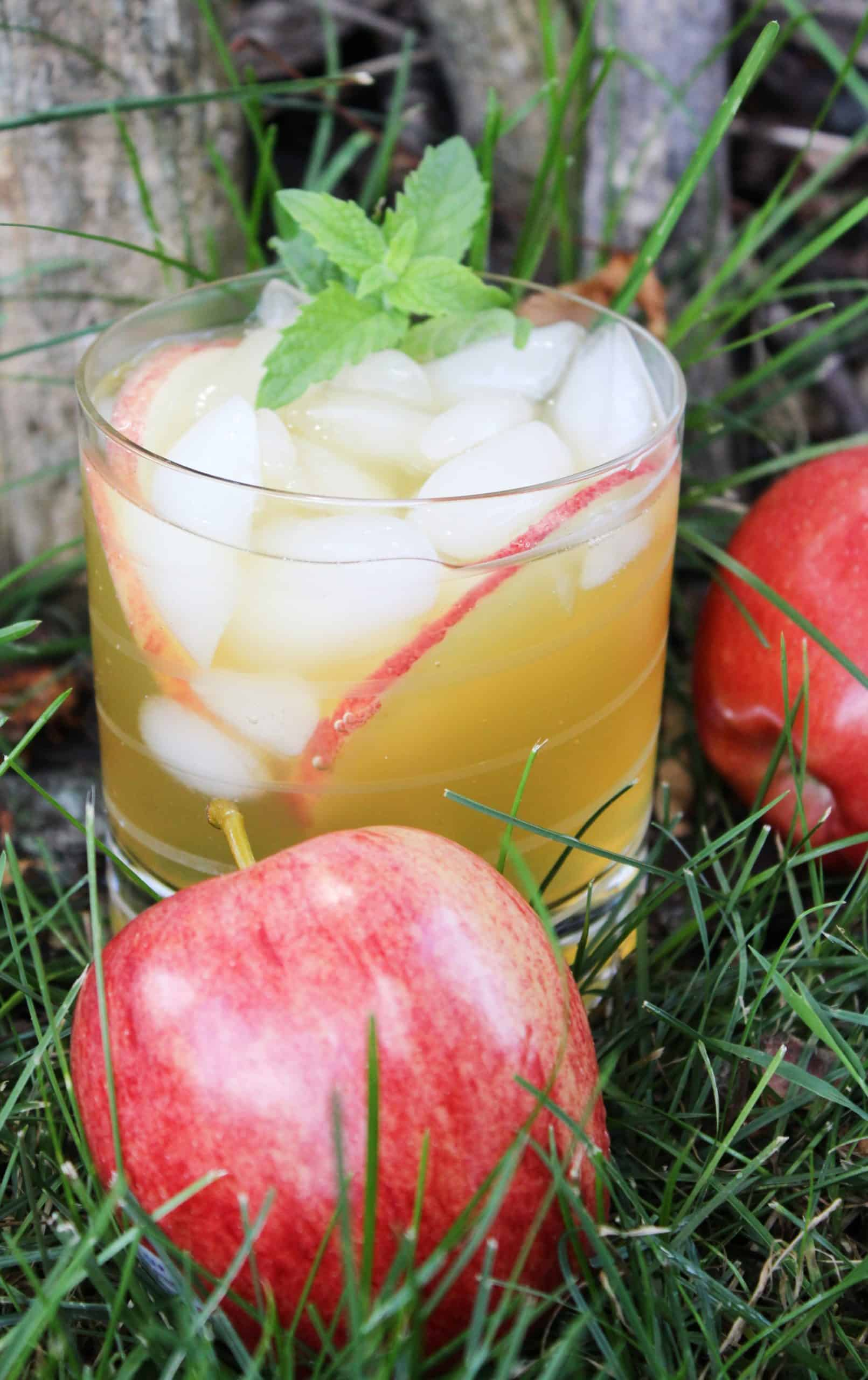 Apple cider cocktail with an apple on the side.