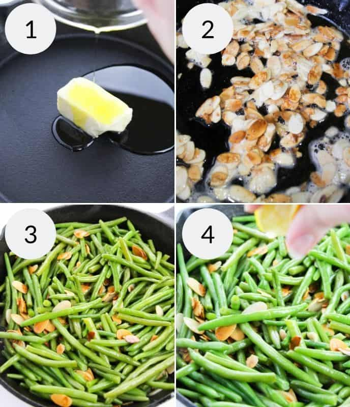 Step by step instructions for making green beans almondine