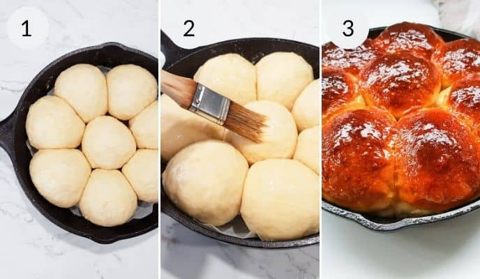 Step by step instructions for making no knead dinner rolls