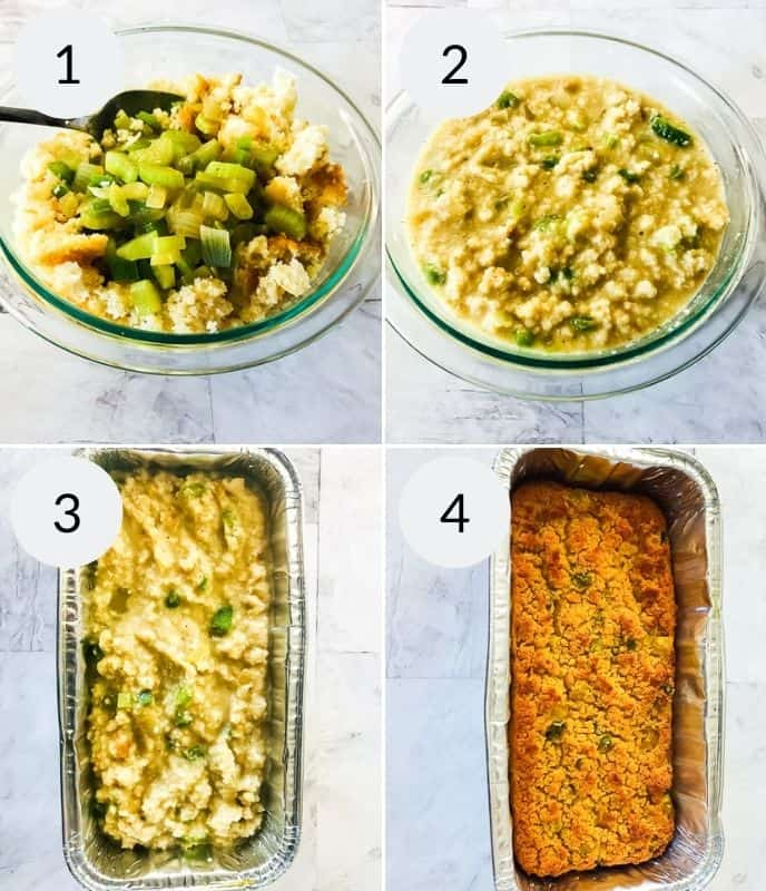 step by step instructions for making southern cornbread stuffing