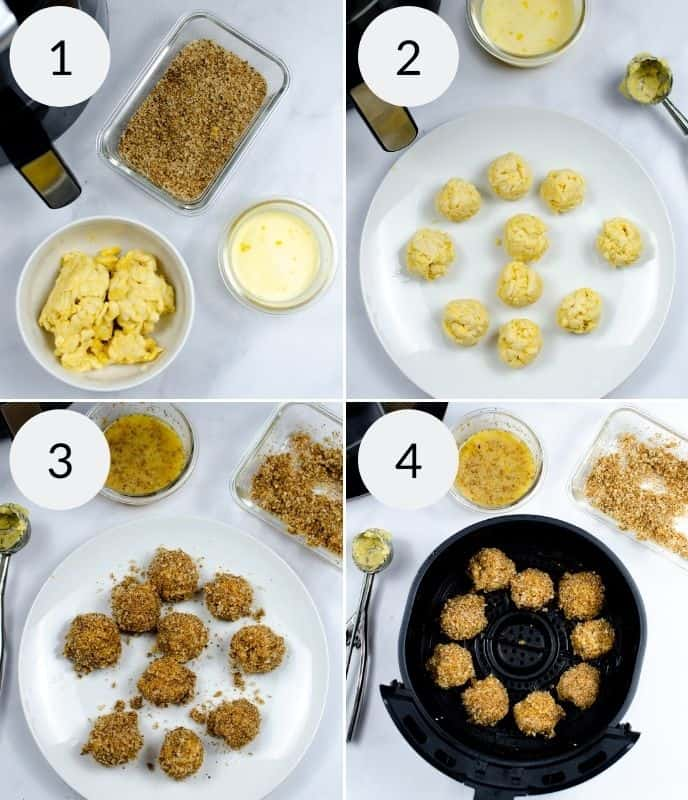 Ingredients and steps to make air fryer mac and cheese