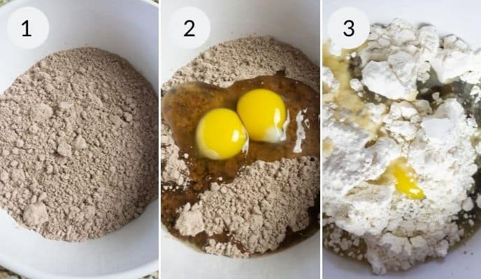 Step by step instructions for making brownie crinkle cookies
