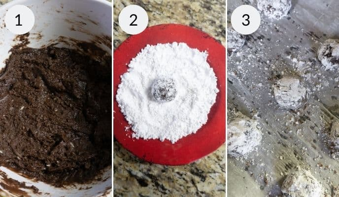 Step by step instructions for making chocolate crinkle cookies