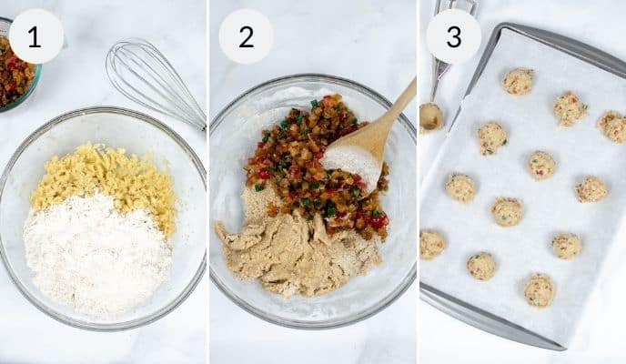 Step by step instructions for making best fruit cake cookies