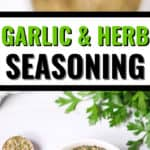 garlic and herb seasoning with 2 pictures