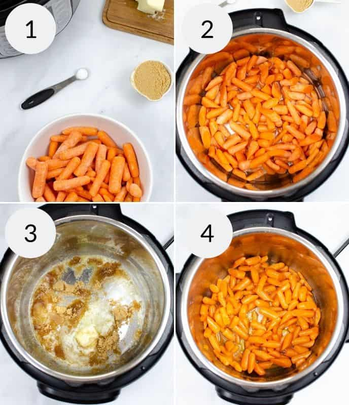 Step by step instructions for making brown sugar glazed carrots in the instant pot