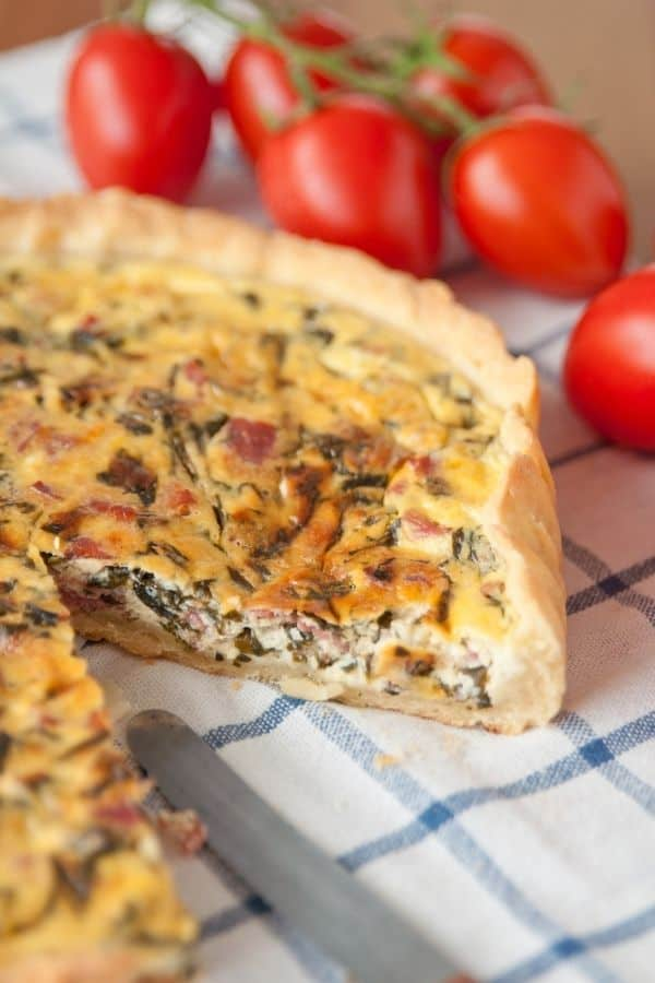 Easy Quiche with slice taken out
