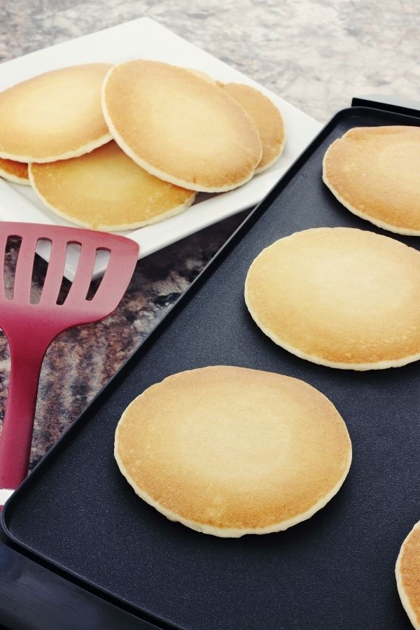 Pancakes on the griddle for homemade pancake mix