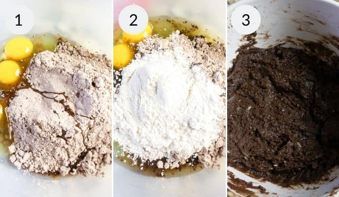 STep by step instructions for making hot chocolate cookies