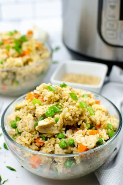 Close up of Instant Pot Chicken Fried Rice with an Instant Pot in the background