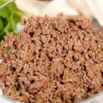 Close up of cooked Ground Beef in a bowl