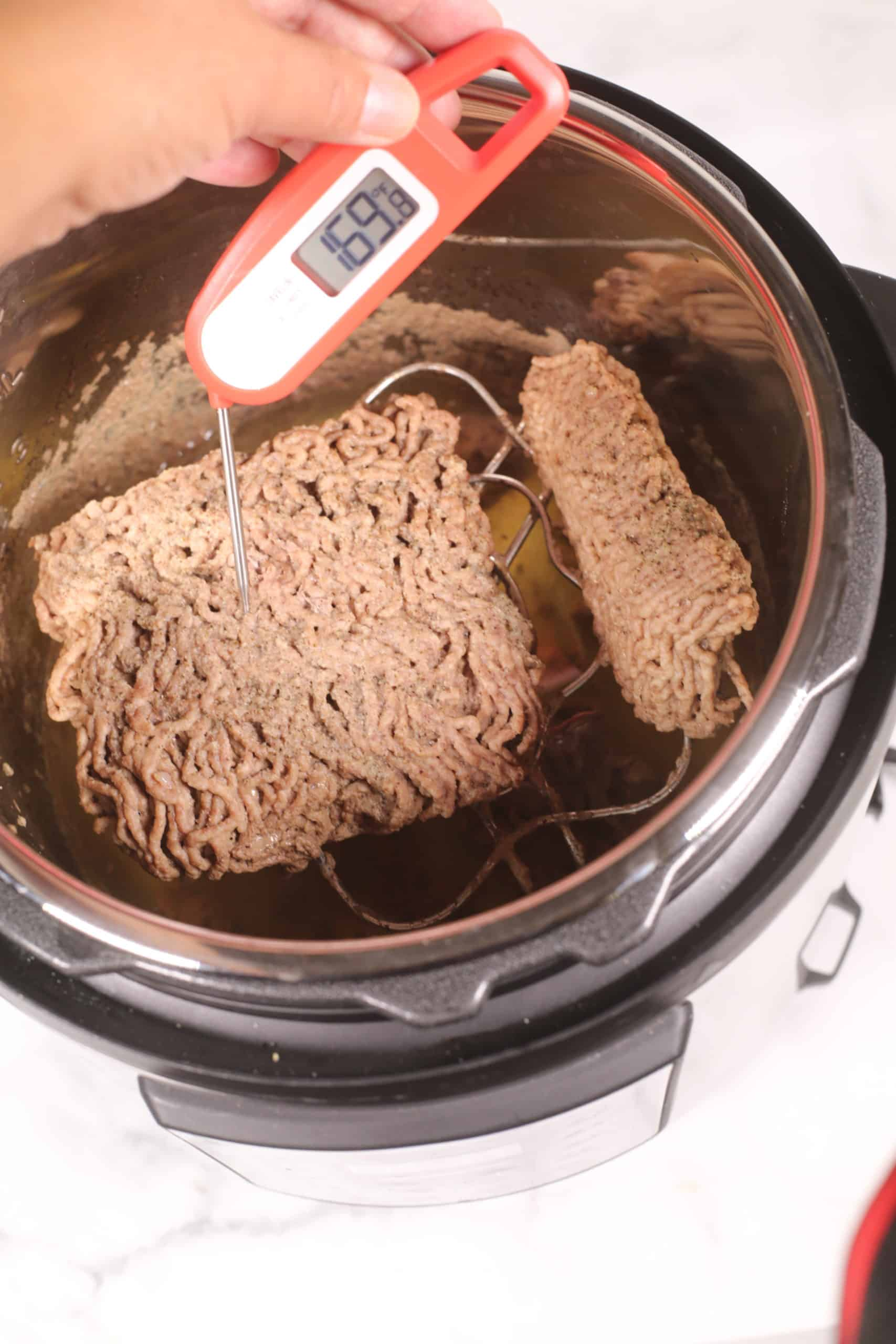 Beef being removed from Instant pot