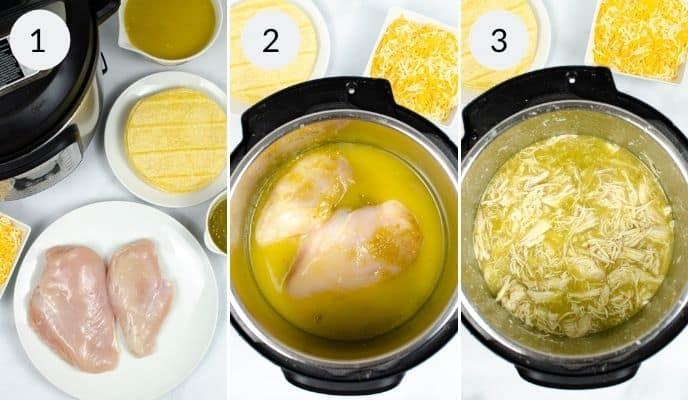1st 3 steps in Instant pot green chicken enchiladas