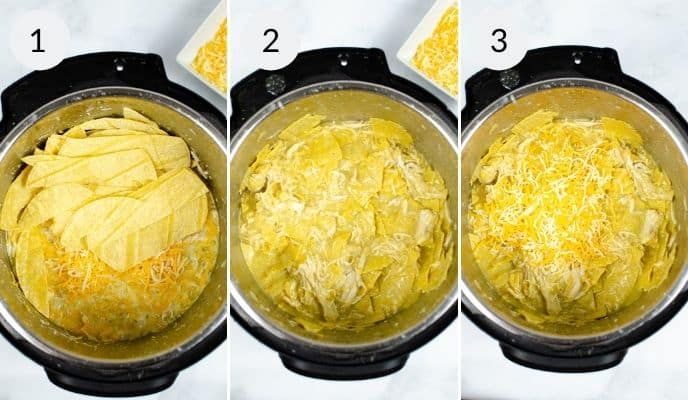 close up on steps to make Instant pot green enchiladas
