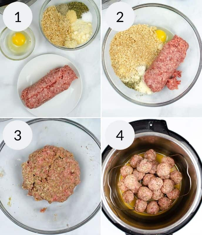 1st 4 steps in preparing instant pot meatballs