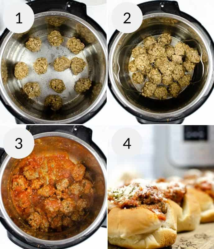 Final 4 steps in preparing instant pot meatball subs