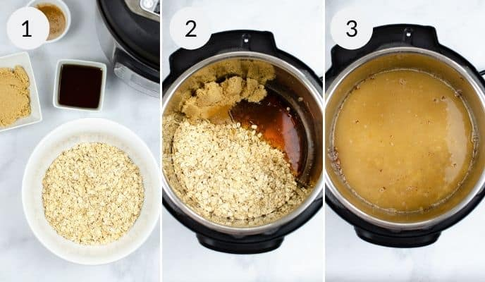 Instant Pot Maple and Brown Sugar Oatmeal being prepared with three pictures