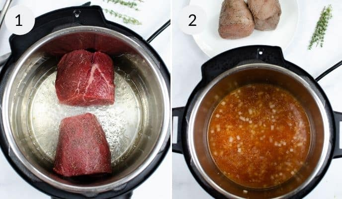 Instant pot with a roast and an instant pot with the juice.