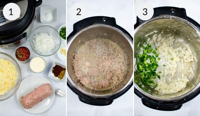 1st 3 steps in preparing Instant Pot Queso with Meat