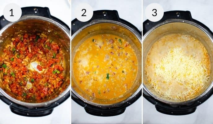 Last 3 steps in preparing the Instant Pot Queso with Meat
