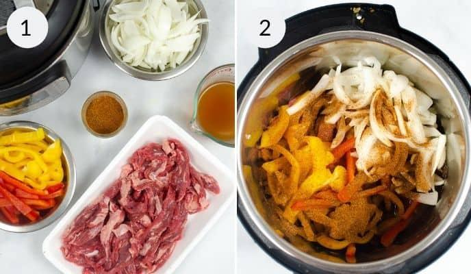 Ingredients and steps for Instant Pot Steak Fajitas