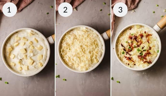 last three process for making mashed potato casserole