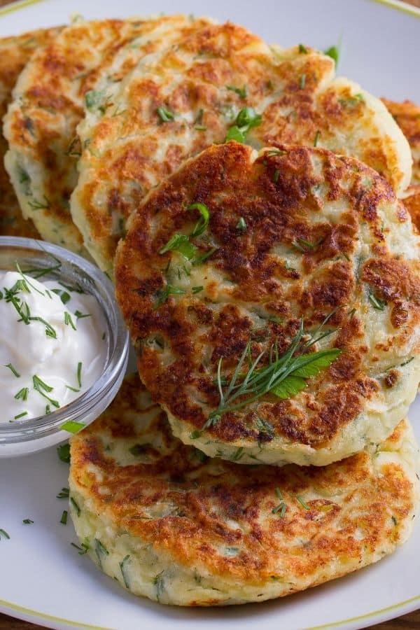 Mashed Potato Pancakes close up