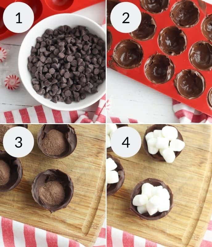 Step by step instructions for making peppermint hot cocoa bombs