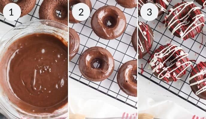 Finishing steps for Peppermint mocha donuts