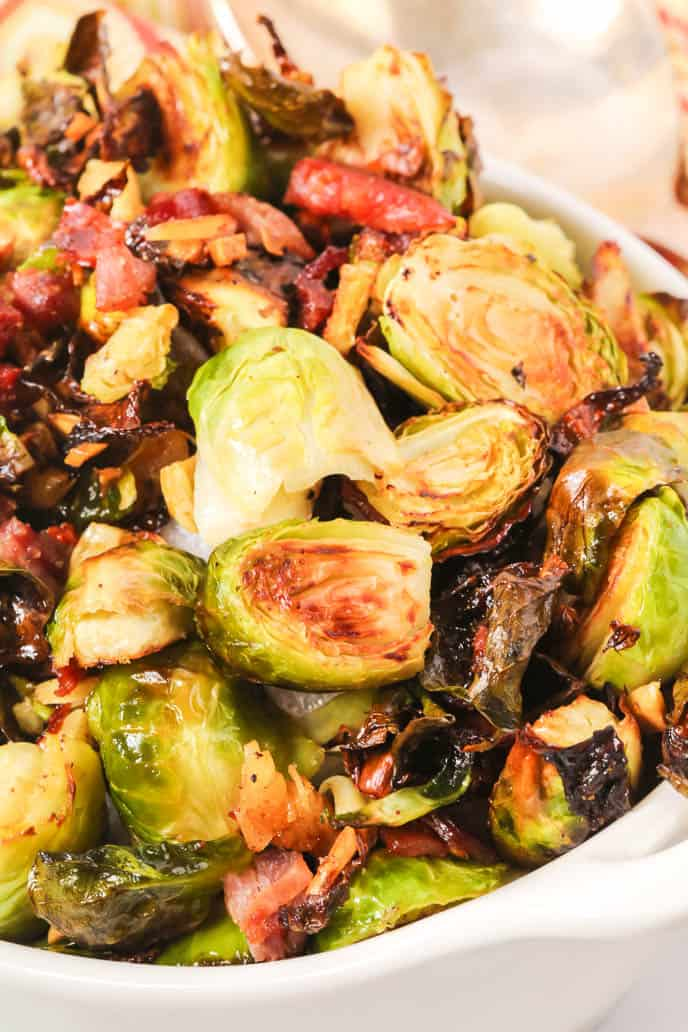 Crispy Brussel sprouts completed in a bowl