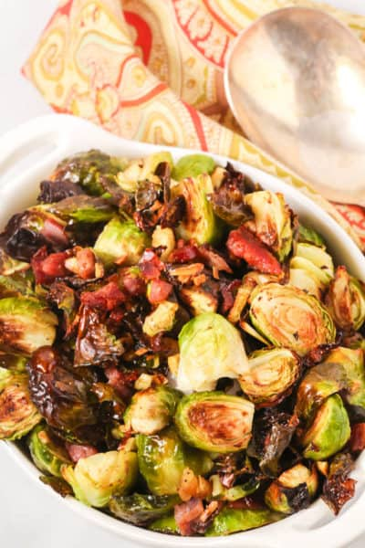 Crispy Brussel sprouts in a white bowl