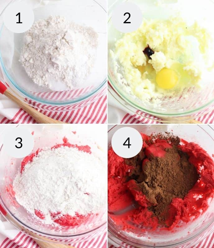 Step by step instructions for making red velvet cookies