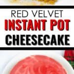 close up and whole instant pot cheesecake