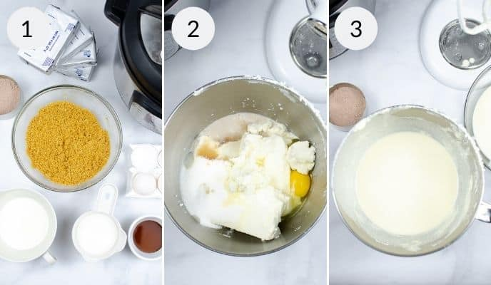 first 3 steps for Instant Pot cheesecake