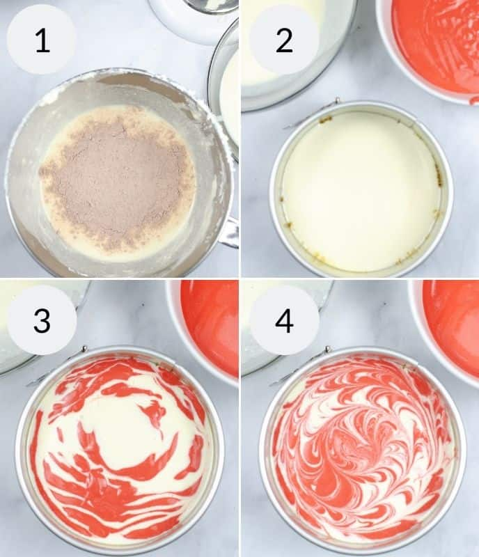4 Process shots for red velvet cheesecake