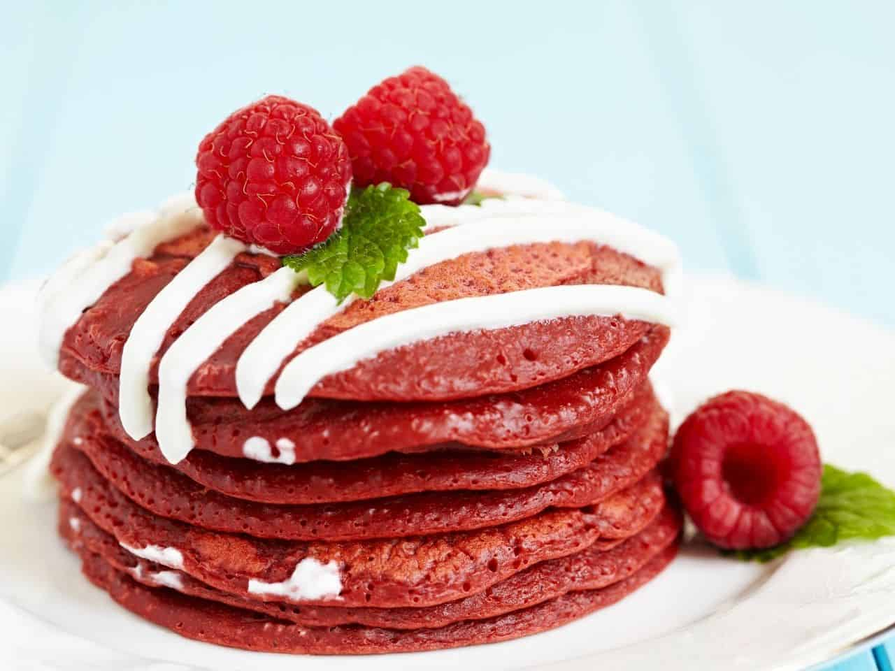 Pancakes topped with raspberries