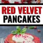 Two images of pancakes for red velvet pancakes