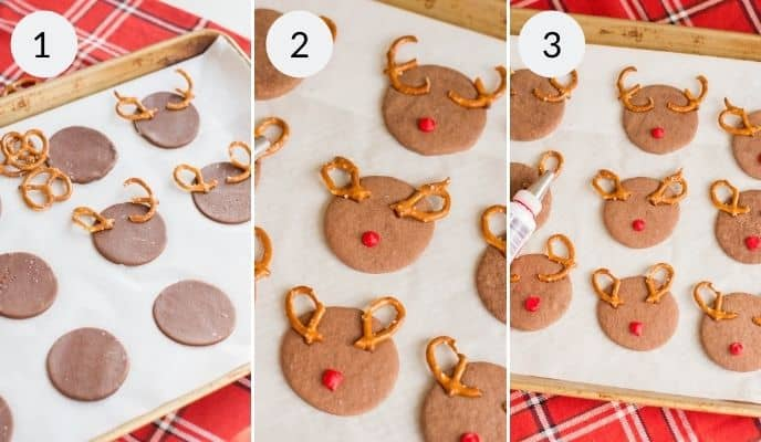 Step by step instructions for making reindeer chocolate sugar cookies.