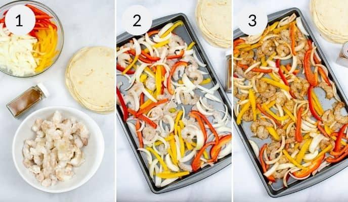 2 shots of preparing theSheet Pan Shrimp Fajitas
