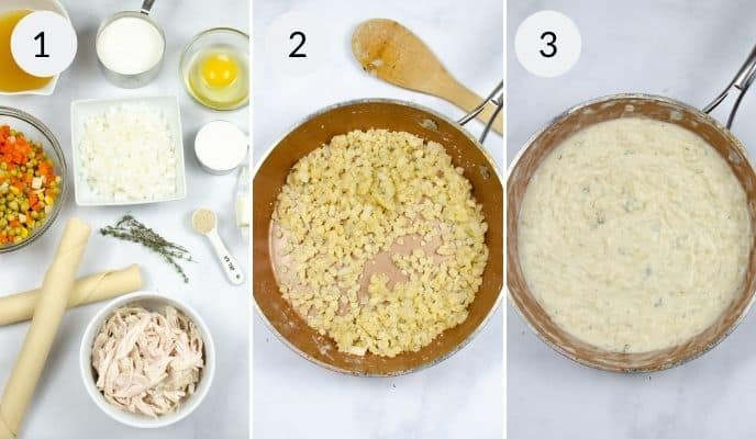 First three steps in making turkey pot pie